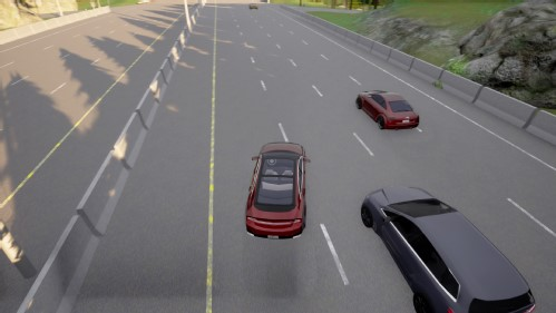 Picture Ego vehicle (in black) is overtaking agent vehicle (red) on a motorway in a sunset condition.
