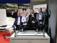 Professor Ken Kendall and Members of the Composite Lightweight Automotive Suspension System (CLASS) project at the JEC Innovation Awards in March 2018. Credit WMG, University of Warwick