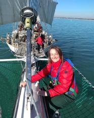 Mairi Macintyre onboard the tall ship