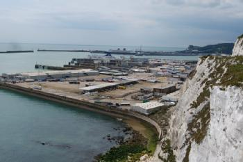 Image of Dover ferry port and the white cliffs