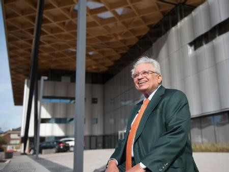 The Late Professor Lord Bhattacharyya with his building at WMG, University of Warwick