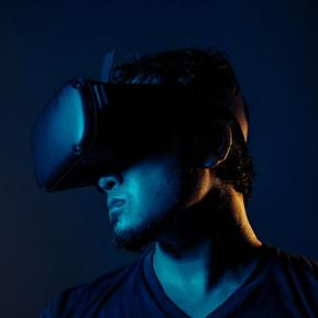 Digital Technology - Man wearing VR headset.