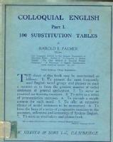 Colloquial English Part I. 100 Substitution Tables