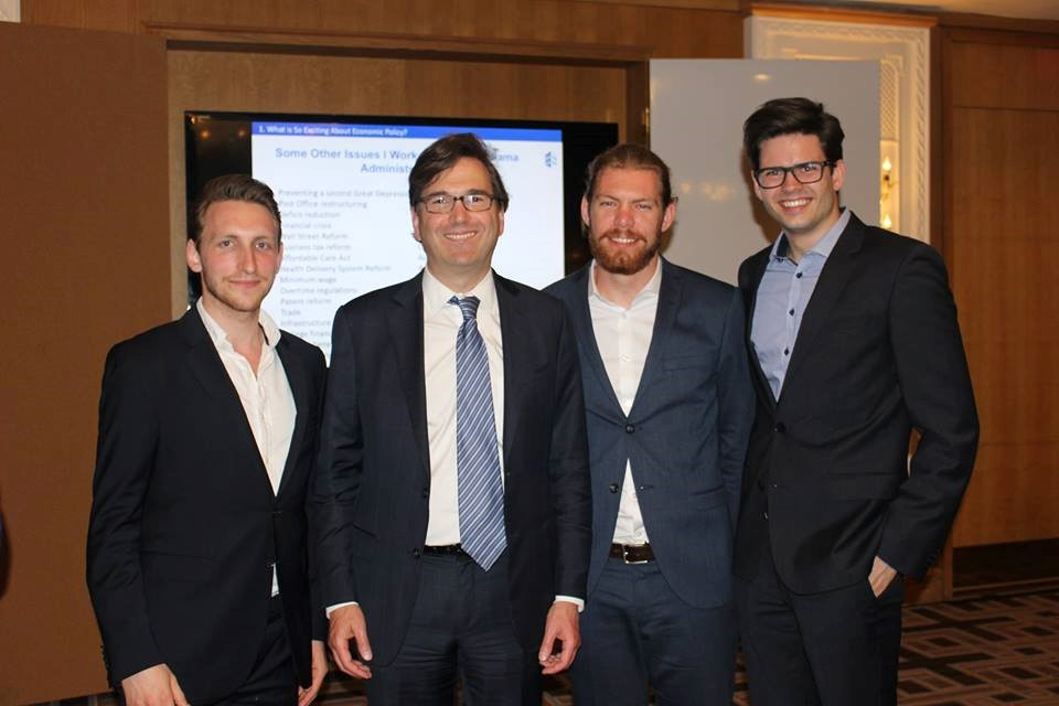 Photo of Tim Maecker, Doctor Jason Furman, David Henning and Marcel Schlepper