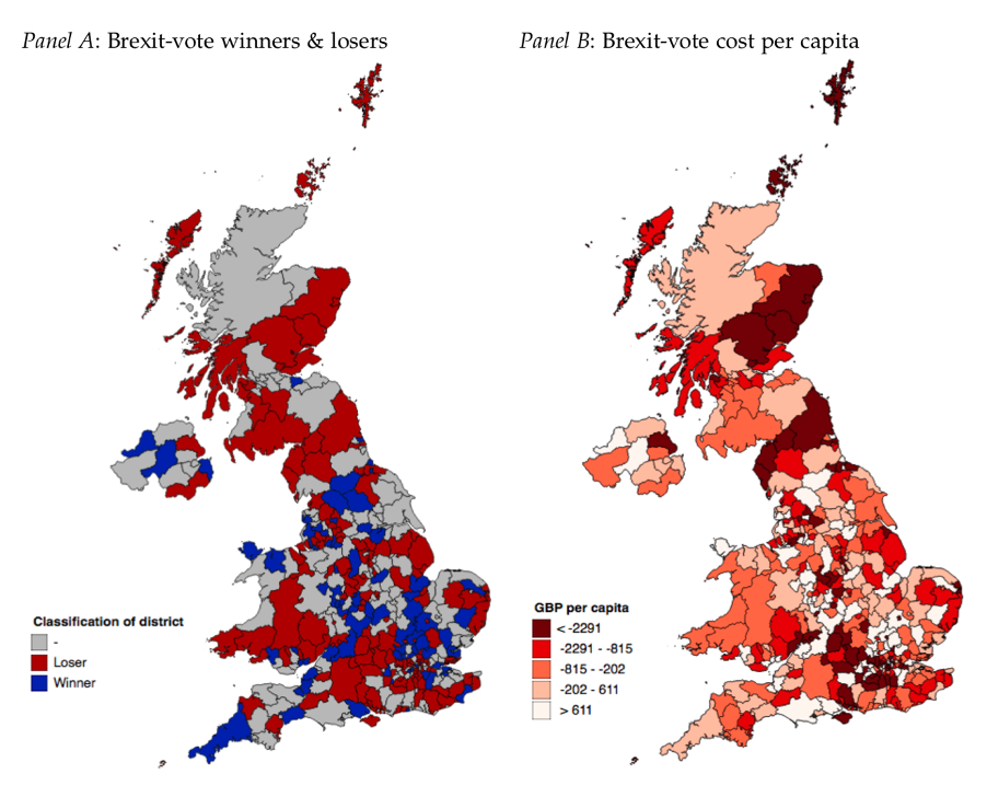 Maps of Brexit vote winners and losers and Brexit cost per capita