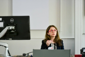 Catherine presenting at King's College
