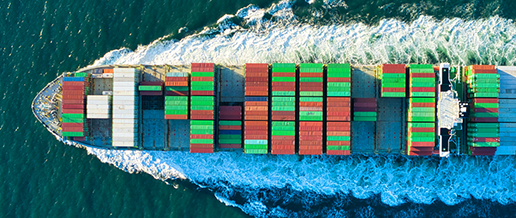 Ariel view of containers on a ship at sea