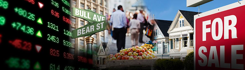 Stocks, bull avenue, bear street, housing, for sale sign