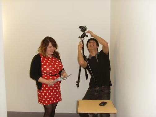 Students working on their film