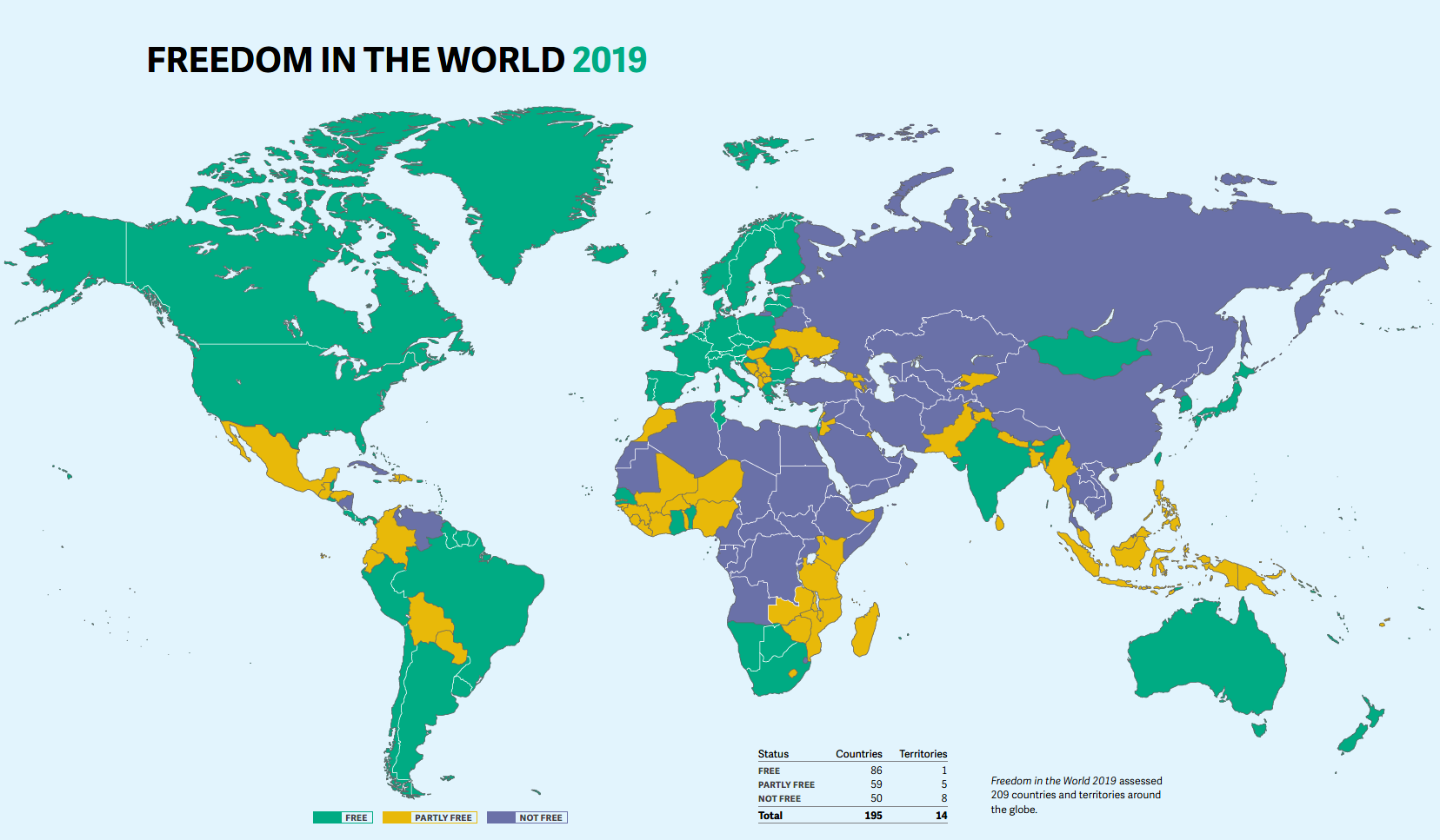 Freedom in the World Map 2019