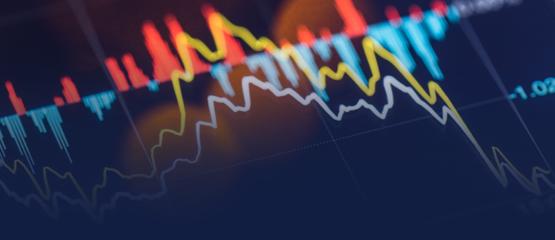 Financial data analysis charts and graphs