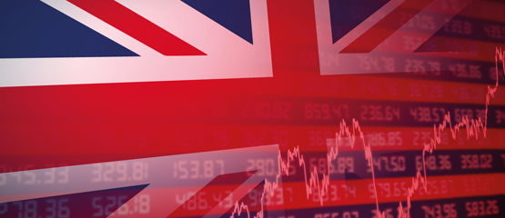 Union Jack and stock market graphs