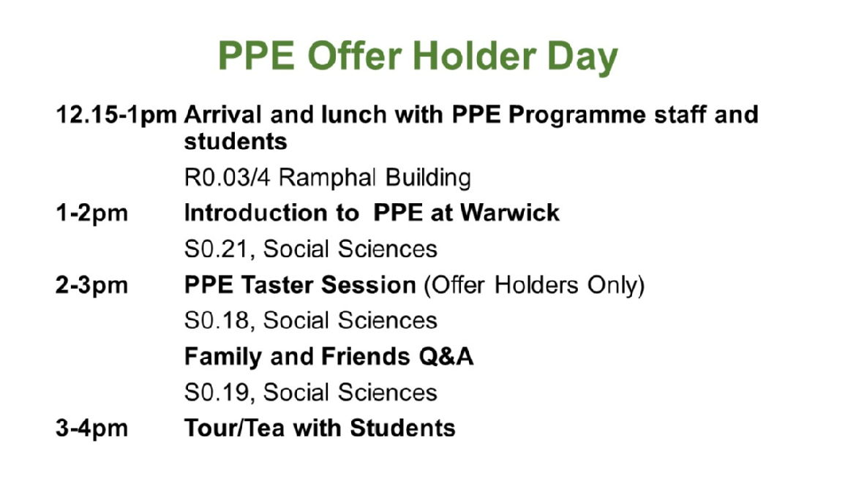 Offer Holder Day Schedule