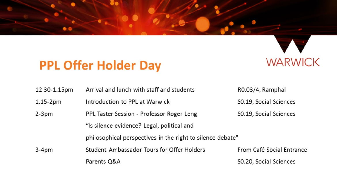 PPL Offer Holder Day Schedule