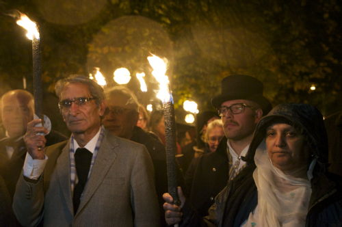 RAFTO 2017 Laureates Parveena Ahangar and Parvez Imroz in a torchlit human rights procession