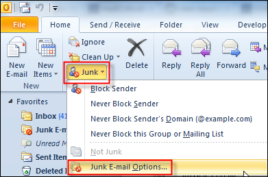 how to delete all junk emails