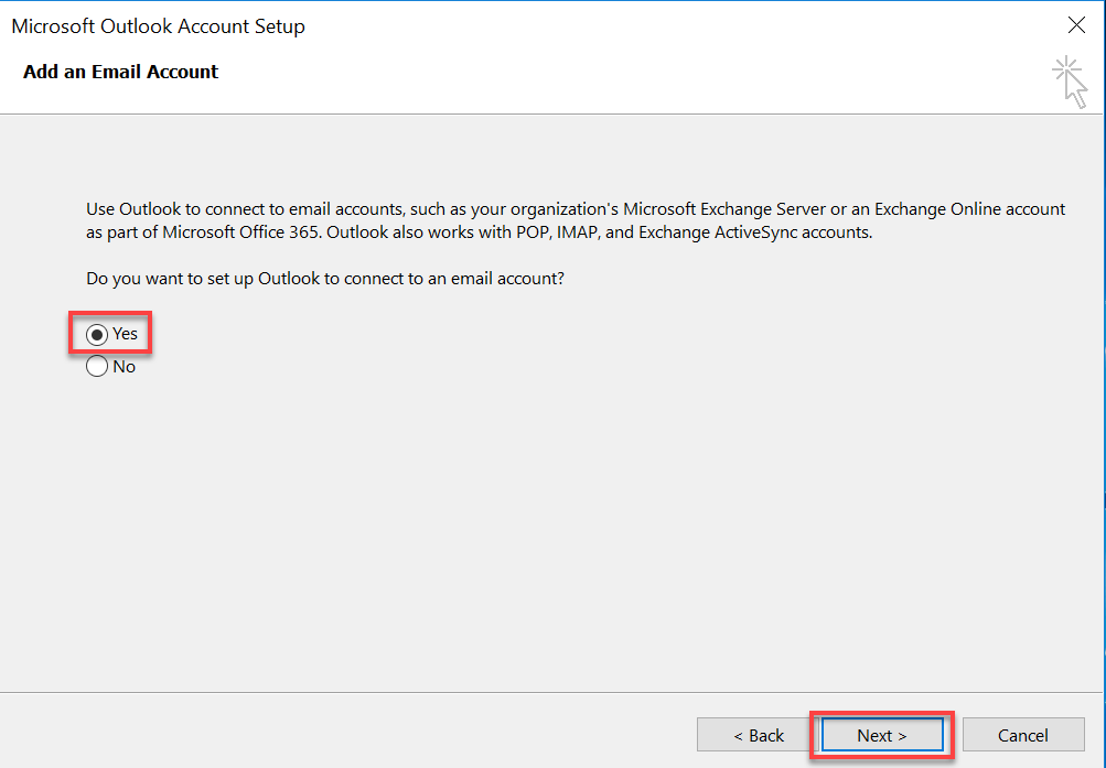 Setting up Outlook to check your staff email in Windows 10