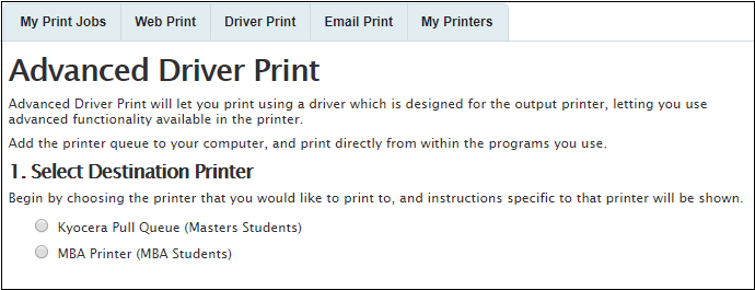 Printing from your own Mac using Driver Print