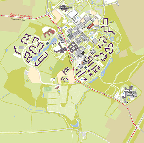 Map of the Cycle Tour route through campus