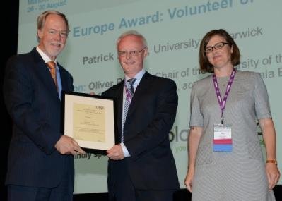 Patrick Dunne receiving his CASE Europe award