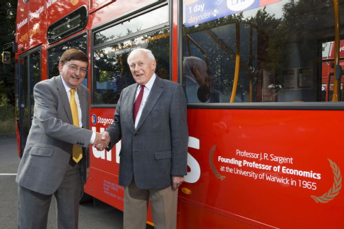 Professor Dick Sargent at bus unveiling