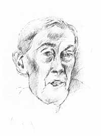 Sketch of Lord Scarman by Tom Phillips