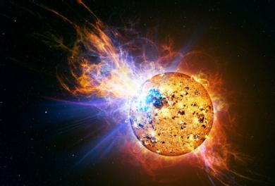 Artist's impression of a similar solar flare (a very large flare from EV Lac). Image Credit: Casey Reed/NASA