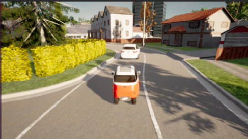 Ego vehicle (red vehicle) is following a decelerating agent vehicle (white car) with a close distance on a curved road in a residential area, and the sun rises behind the ego vehicle.
