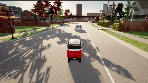 Ego vehicle (the red vehicle) is following an accelerating agent vehicle (white car) with a safe distance on a straight road in a residential area, and the sun rises in front of ego vehicle.