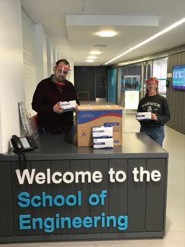 Staff at the University of Warwick's School of Engineering with the face mask delivery from Shanghai