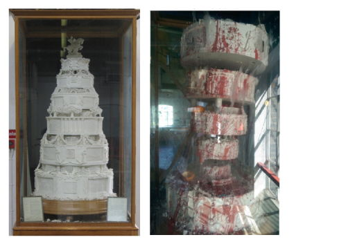 The cake before and after restoration.