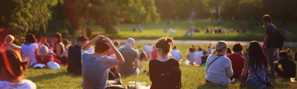 People sat on grass