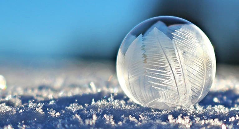 A frozen bubble