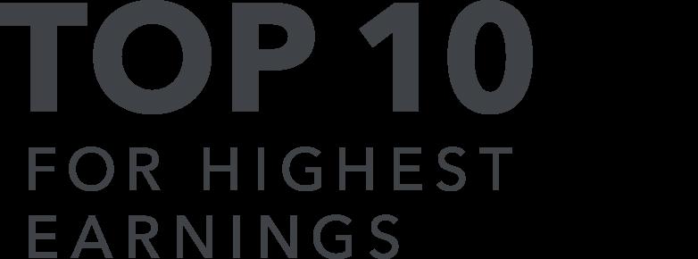 Top 10 for highest earnings
