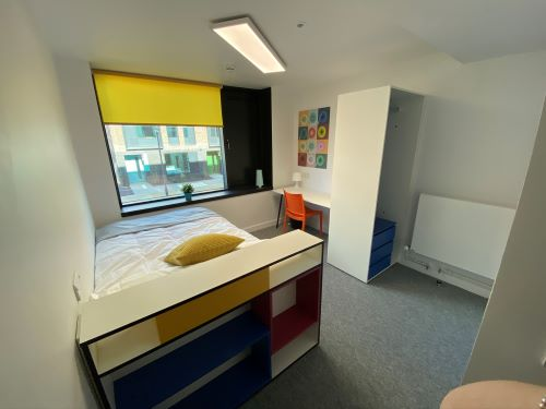 Bedroom with bed, storage space, desk and chair