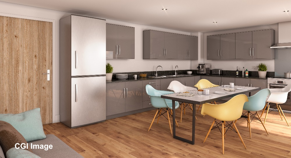 Shared kitchen at The Oaks - CGI Image