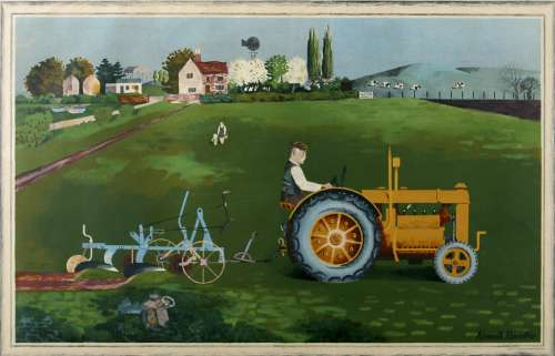 Tractor in Landscape by Kenneth Rowntree