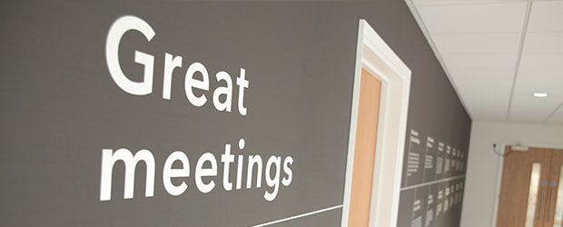 Wall art showing the words 'Great meetings'