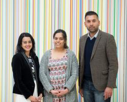 BBC journalist Priya Patel, Gurpreet Dhaliwal from Campion School, & Dr Anil Awesti, University of Warwick