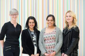 Grace Knowles from Tile Hill Wood School, BBC journalist Priya Patel, Gurpreet Dhaliwal from Campion School & Claudi Geraghty also from Campion School