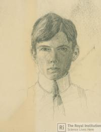 Self portrait sketch by William Lawrence Bragg, Credit: Royal Institution