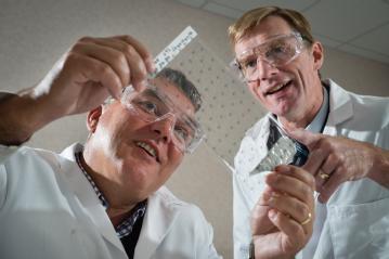 Professor David Haddleton University of Warwick (left) Nigel Davis CEO of Medherant (right)