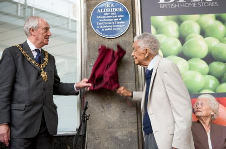 Lord Mayor Cllr Tony Skipper and Earl Cameron CBE unveil plaque to Ira Aldridge