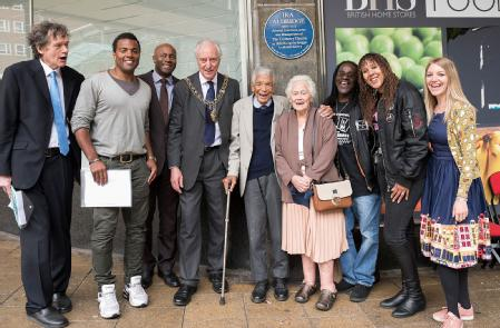 Professor Tony Howard, Lord Mayor Tony Skipper and guest of honour Earl Cameron CBE, along with his wife Barbara, actors Nick Bailey and Ray Fearon