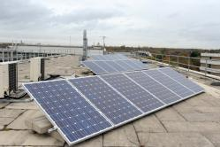 The solar panels have been installed on top pf the Chemistry  building