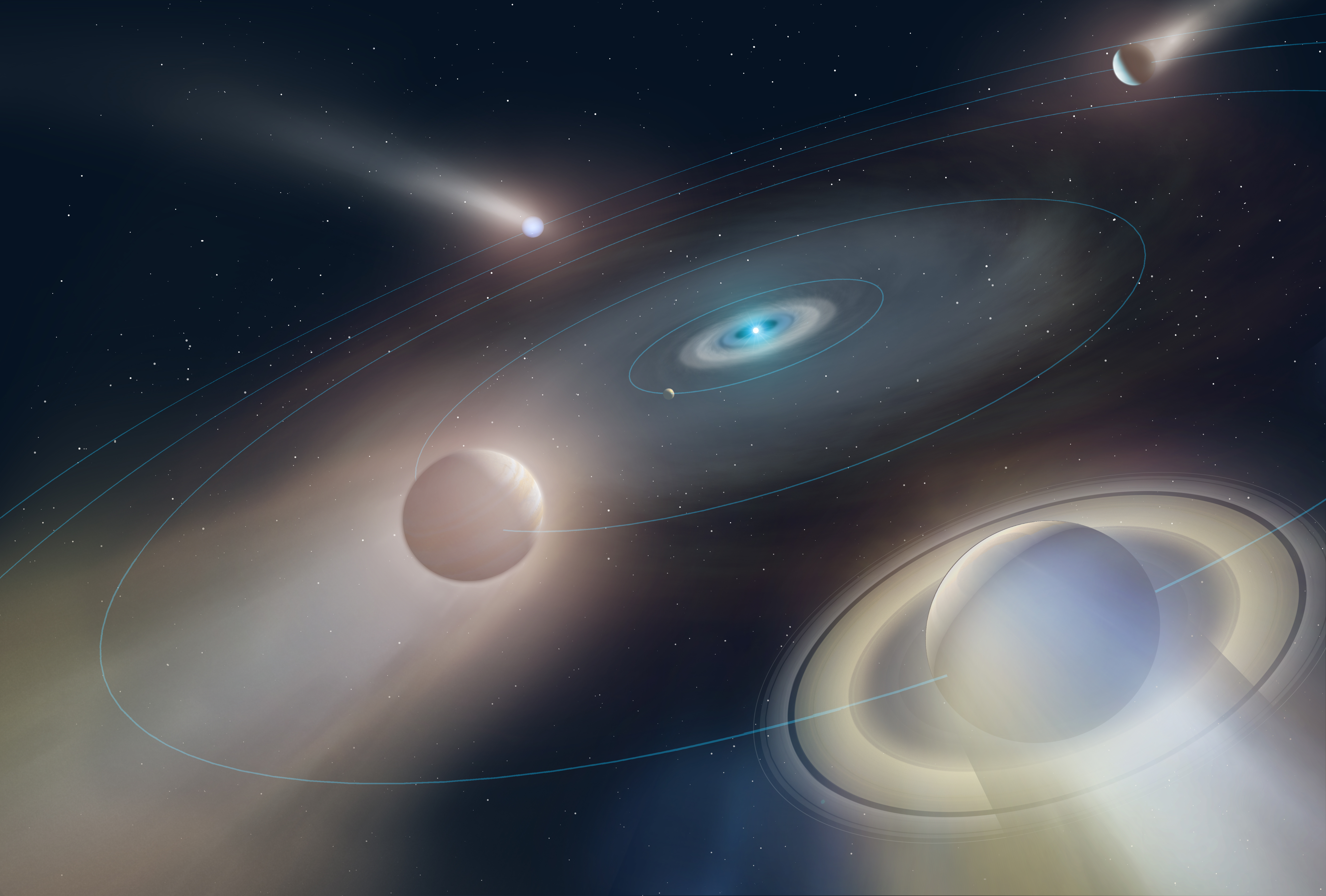 The sun sits at the center of planetary orbits, with planets around it looking as though they're fading or evaporating