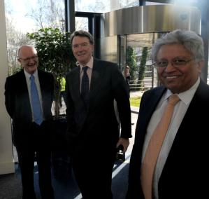 Vice Chancellor Professor Nigel Thrift, Lord Mandelson and Professor Lord Kumar Bhattacharyya