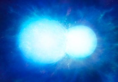 Artist's impression of two white dwarfs in the process of merging. Depending on the combined mass, the system may explode in a thermonuclear supernova, or coalesce into a single heavy white dwarf, as with WDJ0551+4135. This image is free for use if used in direct connection with this story but image copyright and credit must be University of Warwick/Mark Garlick