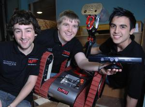 Jonathan Greensmith, Peter Croook and Alex Pallister are hoping the Xbox Kinect will give them a competitive edge in the European RoboCup Rescue Championship.