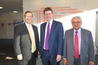 University of Warwick Vice Chancellor Professor Stuart Croft, Secretary of State Greg Clark MP and Professor Lord Bhattacharyya